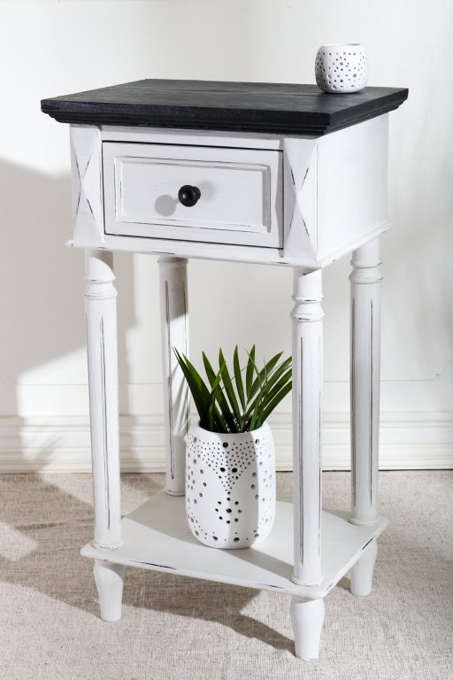 White painted French style nightstand